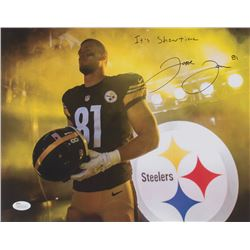 """Jesse James Signed Pittsburgh Steelers 11x14 Photo Inscribed """"It's Show Time"""" (JSA COA)"""
