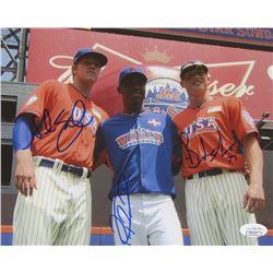 Noah Syndergaard, Rafael Montero  Brandon Nimmo Signed New York Mets 8x10 Photo (JSA COA)