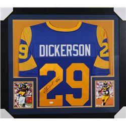 """Eric Dickerson Signed Los Angeles Rams 31x35 Custom Framed Jersey Inscribed """"HOF 99"""" (Beckett COA)"""