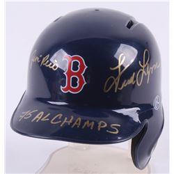 "Jim Rice  Fred Lynn Signed Boston Red Sox Mini Batting Helmet Inscribed ""75 Al Champs"" (Beckett COA)"
