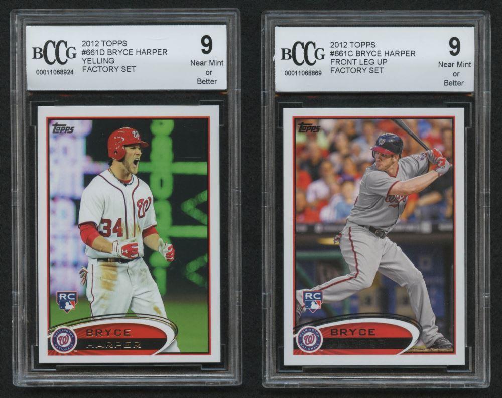 Lot Of 2 Bccg Graded 9 2012 Topps Bryce Harper Baseball
