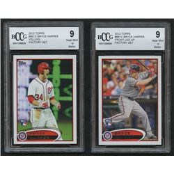 Lot of (2) BCCG Graded 9 2012 Topps Bryce Harper Baseball Cards with #661C Front Leg Up  #661D Yelli