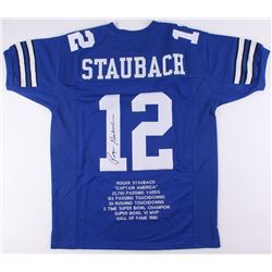 Roger Staubach Signed Dallas Cowboys Career Highlight Stat Jersey (JSA COA)
