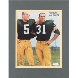"""Jim Taylor  Paul Hornung Signed Green Bay Packers 11x14 Custom Matted Photo Display Inscribed """"Good"""