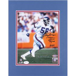"""Lawrence Taylor Signed New York Giants 11x14 Custom Matted Photo Display Inscribed """"H.O.F. '99"""" (JSA"""