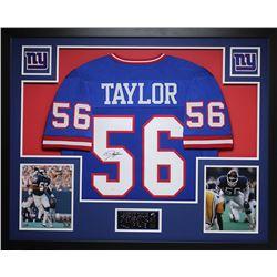 Lawrence Taylor Signed Giants 35x43 Custom Framed Jersey (JSA COA)