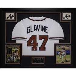 Tom Glavine Signed Braves 35x43 Custom Framed Jersey (JSA COA)