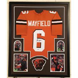 Baker Mayfield Signed Cleveland Browns 34x42 Custom Framed Jersey (Beckett COA)
