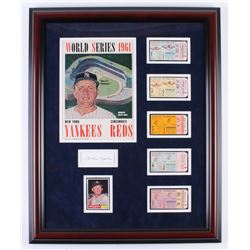 Mickey Mantle Signed New York Yankees 22.25x27.25 Custom Framed Cut Display with Vintage Program, Wo