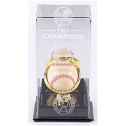 Mickey Mantle Signed New York Yankees OAL Baseball with Display Case (UDA Hologram)