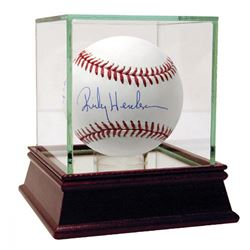 """Rickey Henderson Signed MLB Baseball Inscribed """"1406 SB""""  """"Man of Steal"""" with High Quality Display C"""