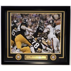 """Multi-Signed Pittsburgh Steelers """"Steel Curtain"""" 22x27 Framed Photo Display With (4) Signatures Incl"""
