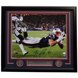 Rob Gronkowski Signed New England Patriots 22x27 Custom Framed Photo Display (JSA COA)