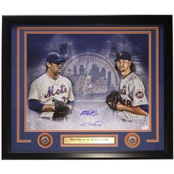 Matt Harvey  Jacob deGrom Signed New York Mets 22x 27 Custom Framed Photo Display with Engraved Name