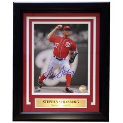 Stephen Strasburg Signed Washington Nationals 11x 14 Custom Framed Photo Display (MLB Hologram)