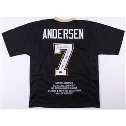 "Morten Andersen Signed New Orleans Saints Career Highlight Stat Jersey Inscribed ""Hall of Fame 2017"""
