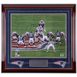 Tom Brady Signed New England Patriots 24.75x26.75 Custom Framed Photo with Patches (TriStar COA)