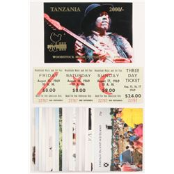 Lot of (22) Woodstock Flats with Unused 3-Day Original Festival Ticket, 1994 Tanzania Jimi Hendrix C