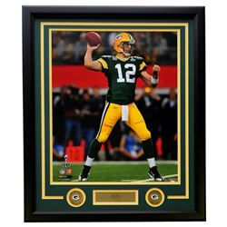 Aaron Rodgers Green Bay Packers 22x27 Custom Framed Photo with Laser Engraved Signature