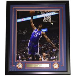 Joel Embiid Signed Philadelphia 76ers 22x27 Custom Framed Photo Display (Beckett COA)