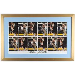 John Wooden  Bill Walton Signed UCLA Bruins 19x30 Custom Framed Uncut Trading Card Sheet (PSA LOA)