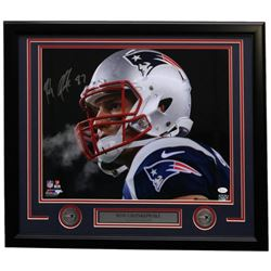 Rob Gronkowski Signed New England Patriots 22x27 Custom Framed Photo Display (JSA COA)
