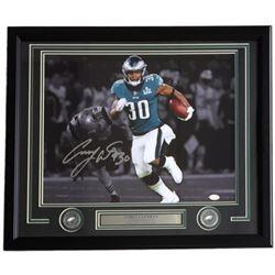 Corey Clement Signed Philadelphia Eagles 22x27 Custom Framed Photo Display (JSA COA)