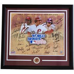 1980 Philadelphia Phillies 22x29 Custom Framed Photo Display Team-Signed (24) Mike Schmidt, Pete Ros