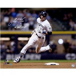 """Christian Yelich Signed Milwaukee Brewers """"Hit For Cycle 9/17/18"""" 16x20 Photo Inscribed """"2018 NL MVP"""