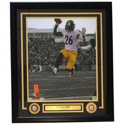 Le'Veon Bell Signed Pittsburgh Steelers 22x27 Custom Framed Photo Display (PSA COA)