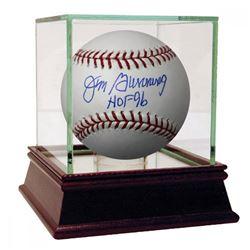 """Jim Bunning Signed OML Baseball Inscribed """"HOF 96"""" with High Quality Display Case (JSA Hologram)"""