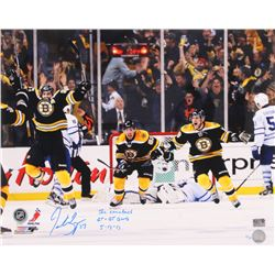 "Patrice Bergeron Signed Boston Bruins 16x20 Photo Inscribed "" The Comeback"", ""GT  OT GWG""  ""5-13-13"""