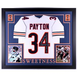 "Walter Payton Signed Chicago Bears 35x43 Custom Framed Jersey Inscribed ""Sweetness"", ""75-87"", ""Super"