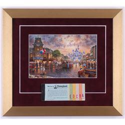 Thomas Kinkade Disneyland 13x14.5 Custom Framed Print with Vintage Ticket Booklet