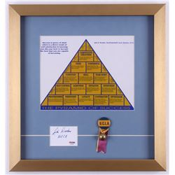 """John Wooden Signed """"The Pyramid of Success"""" 15x16 Custom Framed Cut Display Inscribed """"UCLA"""" with Pi"""