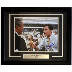 "Charlie Sheen Signed ""The Wolf of Wall Street"" 11x14 Custom Framed Photo Display (PSA COA)"