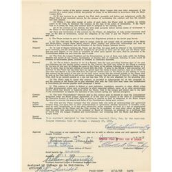 1957 American League Player Contract Signed by (3) with William Harridge, Charles A. Comiskey,  Rufu