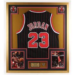 Michael Jordan Chicago Bulls 32x36 Custom Framed Jersey with Championship Ring