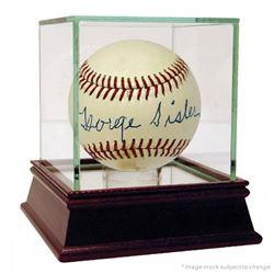 George Sisler Signed Hall of Fame Logo Baseball (JSA COA)