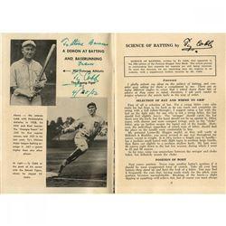 "Ty Cobb Signed Tigers 3x5 Magazine Cut Inscribed ""4/25/52"" (JSA Hologram)"
