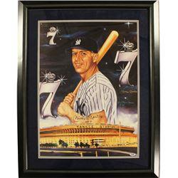 Mickey Mantle Signed Yankees 26x32 Custom Framed Artwork Display (PSA)
