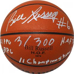 Bill Russell Signed LE Custom Engraved Official NBA Basketball with (4) Stat Inscriptions (JSA LOA)