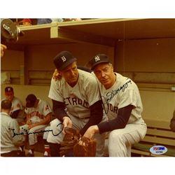 Joe DiMaggio  Hank Greenberg Signed 8x10 Photo (PSA COA)
