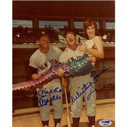 Whitey Ford  Mickey Mantle Signed Yankees 8x10 Photo (PSA COA)