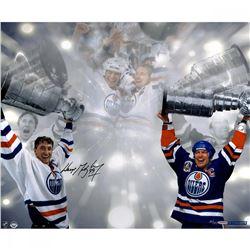 "Wayne Gretzky Signed Oilers ""Stanley Cup"" LE 16x24 Photo (UDA COA)"
