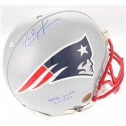"""Randy Moss Signed New England Patriots Full-Size Authentic On-Field Helmet Inscribed """"1493 yards""""  """""""
