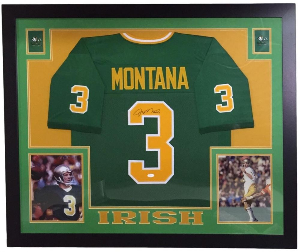 newest 447bc 9ba54 Joe Montana Signed Notre Dame Fighting Irish 36x44 Custom ...