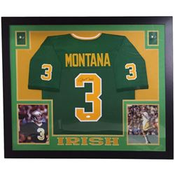 Joe Montana Signed Notre Dame Fighting Irish 36x44 Custom Framed Jersey (JSA COA)