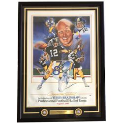 Terry Bradshaw Signed Pittsburgh Steelers 30x43 Custom Framed Lithograph Display (PSA COA)