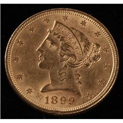 1899 $5 Five Dollars Liberty Head Half Eagle Gold Coin